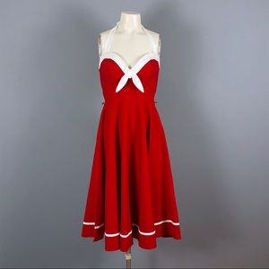 Pinup couture red sailor swing dress - Medium